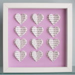 Personalised Text Hearts Box Frame ..