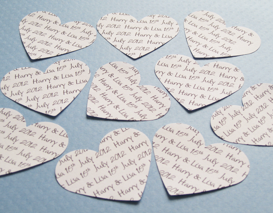 450 x 2 inch Personalised Text Heart Confetti - Invitations, Table Decor, Favours, Parties