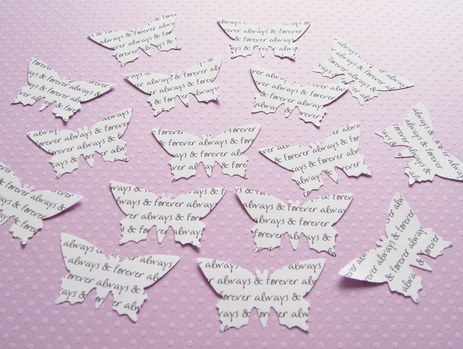 300 x 2inch Personalised Text Butterfly Confetti - Great for Weddings, Parties, Invites, Table Decor, Favours
