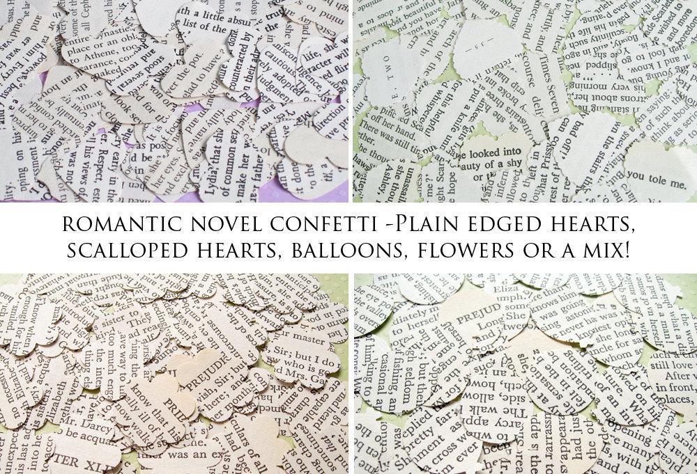 SALE SALE SALE 1000 x Romantic Novel Confetti - Choice of 4 Shapes - Great for Weddings, Invites, Table Decor, Favours
