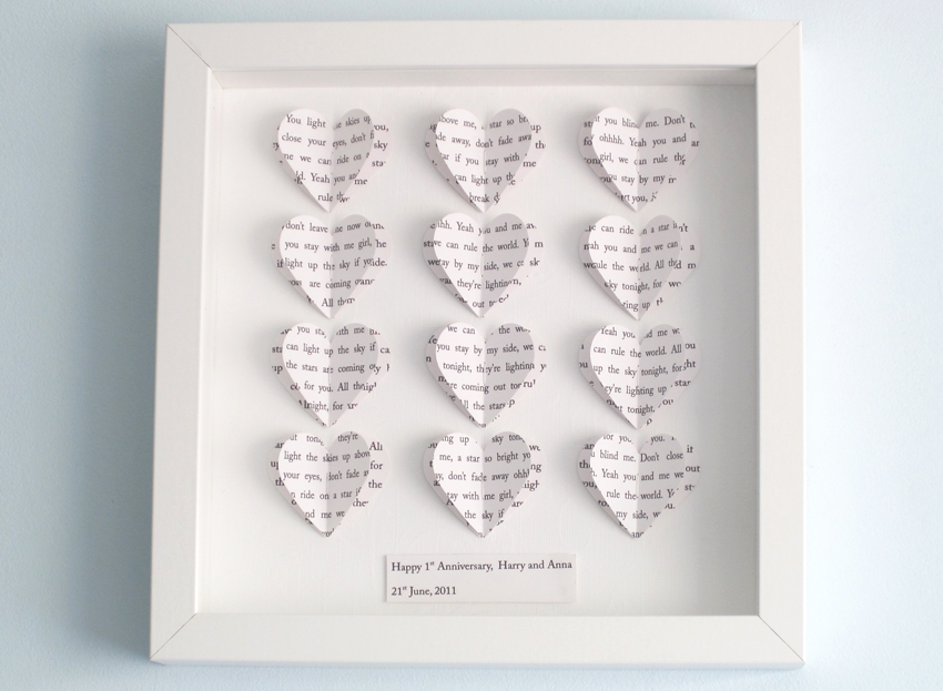 Personalised Text Hearts Box Frame - Perfect For Weddings, Birthday ...