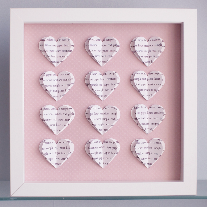 Personalised Text Hearts Box Frame - Ideal For Mothers Day, New Baby ...