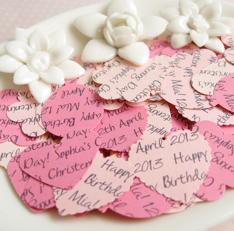 500 x Personalised Pink Confetti - 4 Shapes to Choose - Great for Baby Showers, Christenings, Birthdays