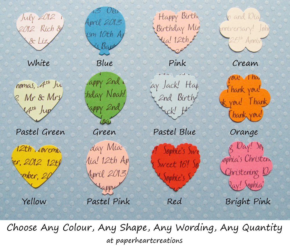 100 Personalised Confetti - Choice of 4 shapes, 12 Colours of Card - Great for Special Occassions