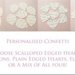100 x Ivory Cream Personalised Heart Confetti - Great for Weddings, Invitations, Table Decor, Favours