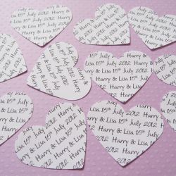 300 2inch Personalised Heart Confetti - Great for Weddings, Invites, Table Decor, Favours, Parties