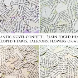 250 x Romantic Novel Confetti - Choice of 4 Shapes - Great for Weddings, Invites, Table Decor, Favours