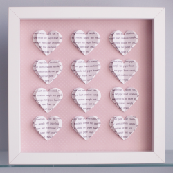 Personalised Text Hearts Box Frame - Ideal for Mothers Day, New Baby Girl, Christening or Birthday