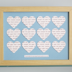 Personalised Text Hearts Box Frame - Perfect for New Baby, Christenings, Birthday, Anniversaries, Special Occassions